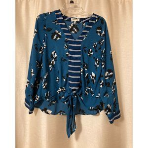 Monteau teal floral interesting blouse with tie